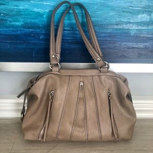 Jessica Simpson taupe satchel with zips/tassels.